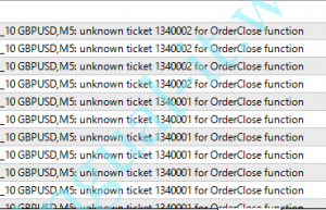 unknown ticket xxx for OrderClose function